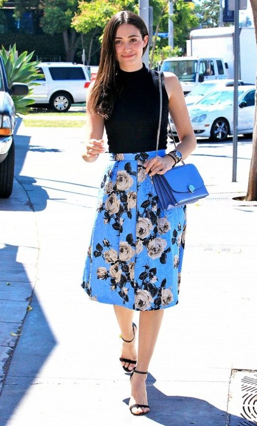 Emmy Rossum makes a floral skirt from ASOS look expensive when paired with strappy heels