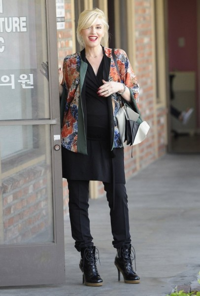 Kimono-inspired jacket, tunic top, and high-heeled booties.