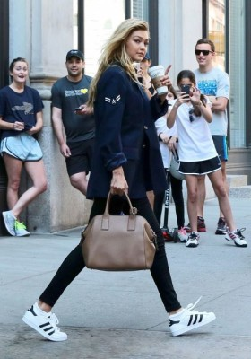 Gigi Hadid ROck with Adidas Sneakers
