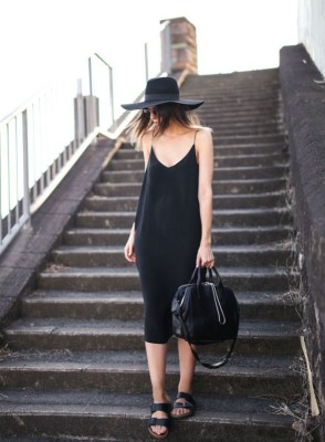 With a slip dress