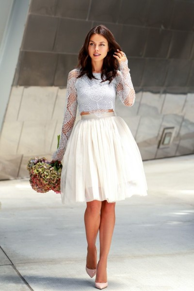 skirt and crochet cropped top