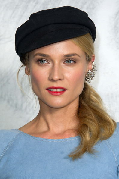 A black newsboy cap and pretty ponytail drew attention to Diane Kruger's bedazzling ear cuff.