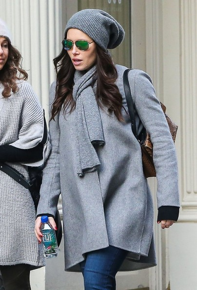 For chillier days, take cue from Jessica Biel and opt for a monotone match up with a slouchy beanie and tousled tresses.