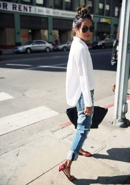 Boyfriend Jeans + White Shirt + Red Flats
