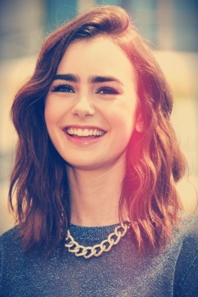 Lily Collins Vintage Medium Haircut
