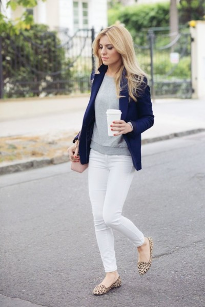 Navy, grey and white outfit with a blush crossbody bag and leopard flats.
