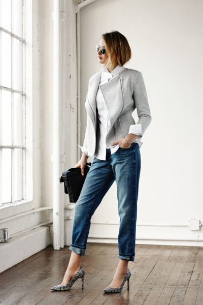 Our new favorite shade of gray. Style Banana Republic's Boxy Zip Blazer with cuffed boyfriend jeans with for a relaxed-chic look.
