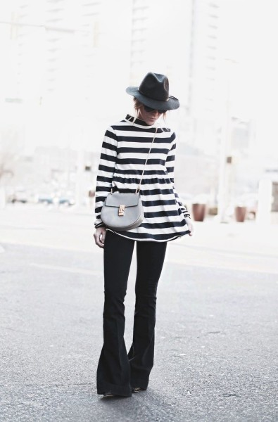 lack and white stripes....and these flared jeans