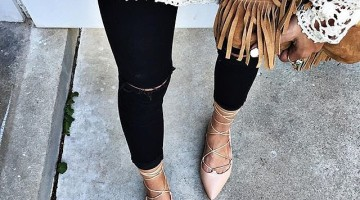 A crochet top, fringe bag, and lace-up flats
