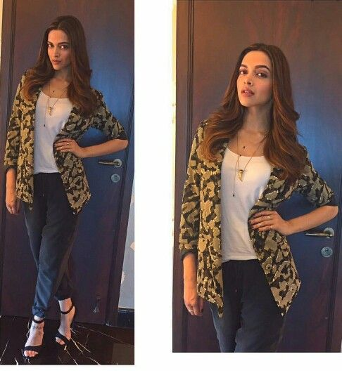 Deepika Padukone in Zara Blazer for her movie Tamasha Promotions