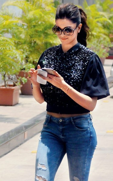 Deepika Padukone spotted during a promotional drive for her film 'Piku' at Lower Parel