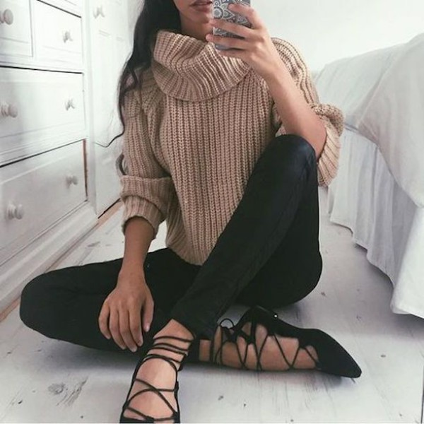 lack lace up flats + turtleneck sweater