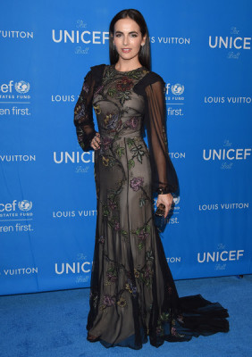 Camilla Belle had a romantic gothic look with her black chiffon floral embroidered long sleeve gown while attending the UNICEF ball.
