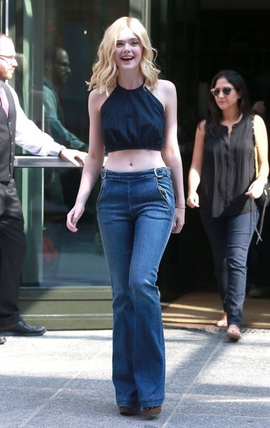 Elle Fanning rocked a '70s vibe in flare jeans.
