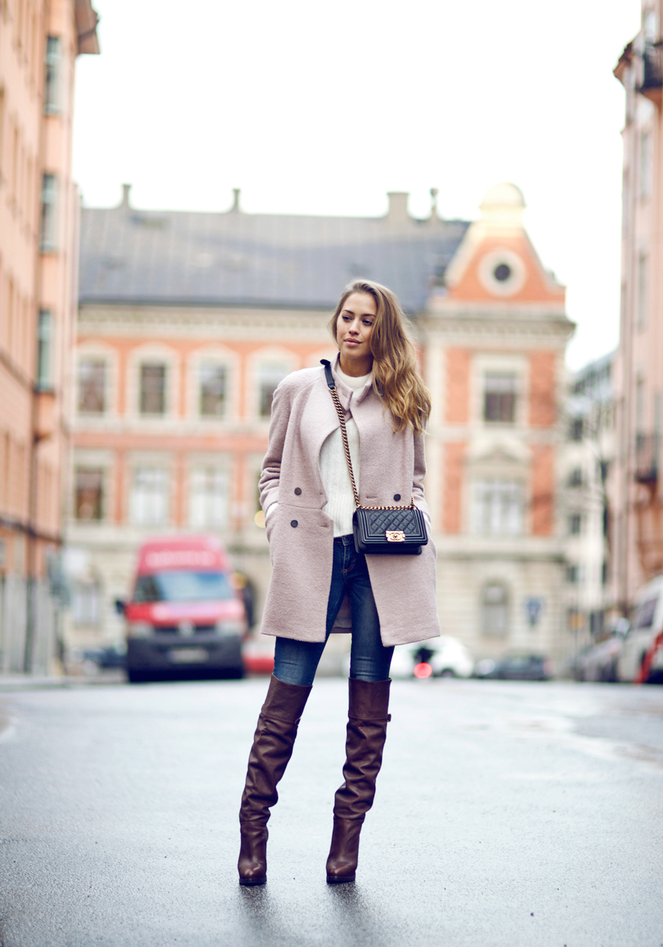 3d0f45631e7 Kenza-pink-coat-with-knee-high-heel-boots-bmodish » Celebrity ...