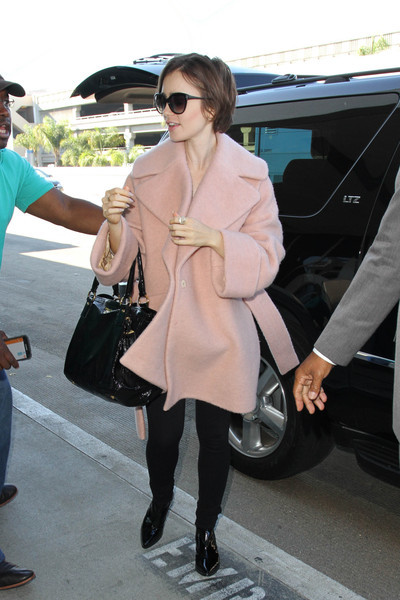 Lily Collins Leather Tote By Prada