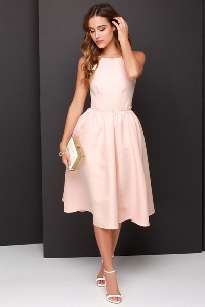 Lead a Charmed Life Peach Midi Dress at Lulus