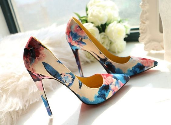 RED SOLES Flowers of Paradise High Heels