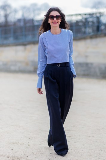 Keep it simple with high-waisted trousers and a top