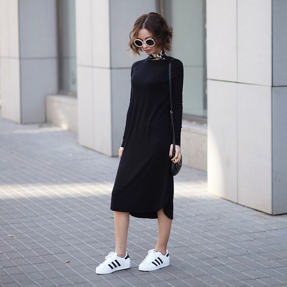 Sonya Karamazova - Adidas Originals Superstar Sneakers, Asos Dress via Lookbook