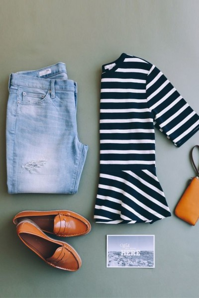 Trend Peplum Tee For Your Casual Outfits -We love a peplum paired with destructed boyfriend jeans and cognac accents. Get this chic spring look from Gap.