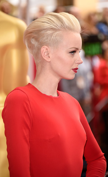 Dorith Mous brought a rocker edge to the Oscars red carpet with her platinum-blonde fauxhawk.