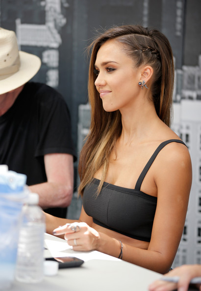 Jessica Alba showed a peek of her French braid undercut while at Comic-Con.