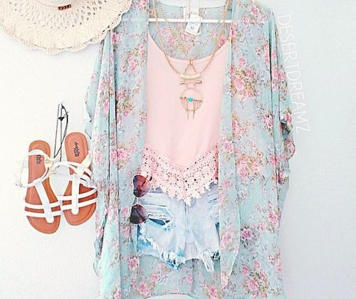 Love they look of the girly vintage kimono with the pastel lace tank, tipped jeans, and white sandals, but not sure if I would wear it with the hat.