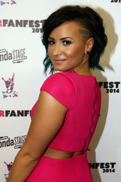 Punk princess Demi Lovato showed off her undercut, which featured a double-lined design.