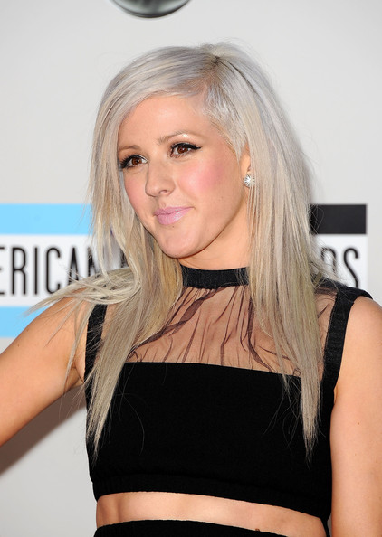 You can see just a peek of Ellie Goulding's shaved cut through her white-gray strands.