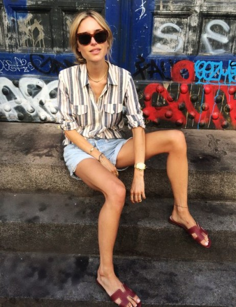 Look De Pernille - celine sunglasses, mariniere striped shirt, denim cutoff shorts and hermes oran sandals