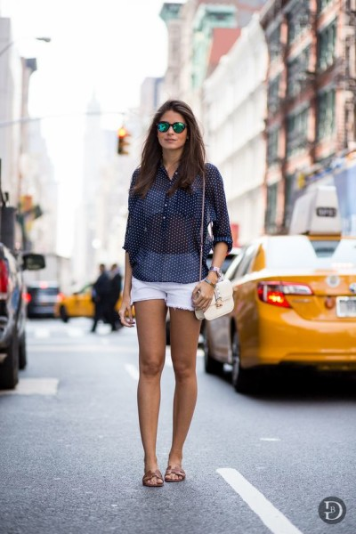 Polka dot navy shirt, white denim shorts, Valentino Rockstud bag & Hermés Oran Box sandals