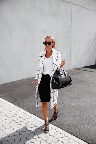 Statement coat is a Blair Longline Coat White, t-shirt, pencil skirt, lace up heels and Givenchy bag