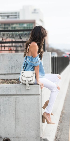 The off the shoulder top trend is one which is coming back