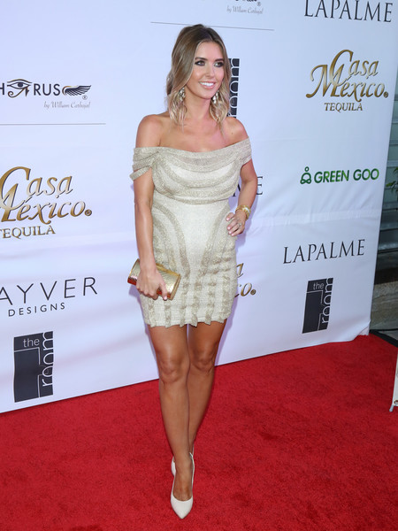 Audrina Patridge flaunted her sexy pregnancy style with this gold off-the-shoulder mini dress while attending LaPalme Magazine's Spring Affair launch party.