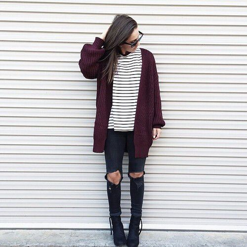 Black and white striped shirt, maroon cardigan, black skinny jeans, boots, fall outfit, winter outfit, casual outfit