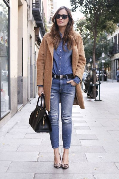 Denim + Camel.