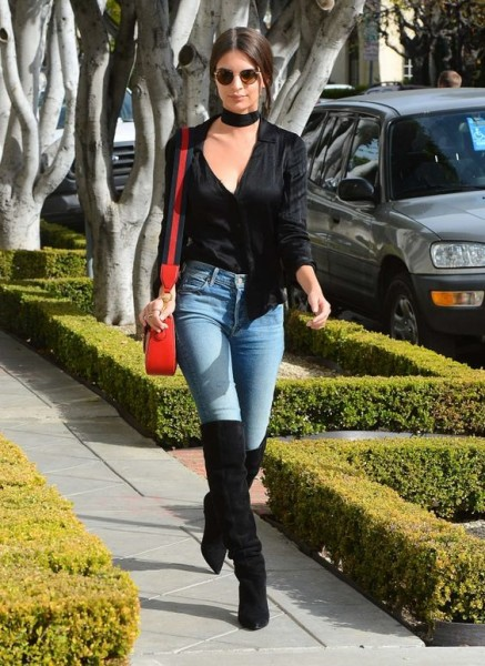 Emily Ratajkowski kept it cute and casual in jeans and over the knee boots while out and about in West Hollywood.