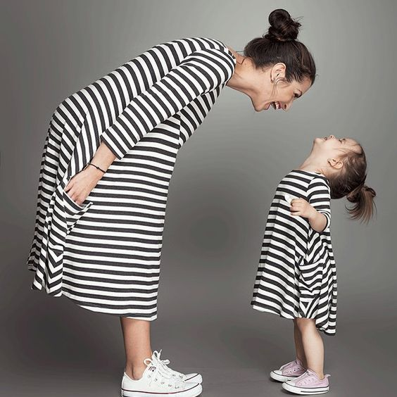 Fashion Family Matching Outfits Black White Striped Mommy And Me Clothes Cotton Mom And Daughter Dress