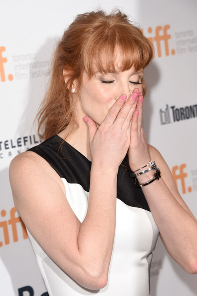 Jessica Chastain went for simple styling with some silver bangles when she attended the premiere of 'Miss Julie.'