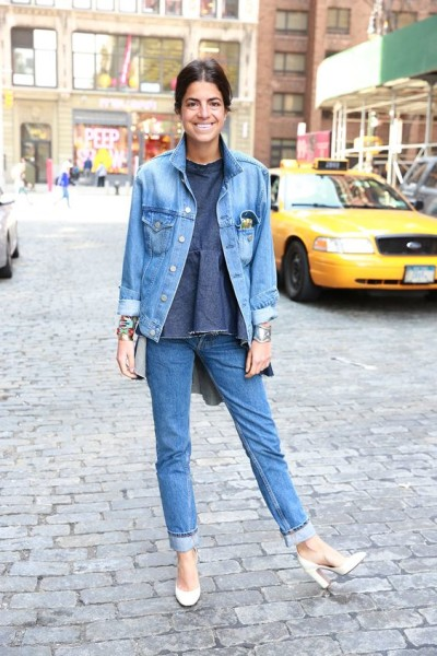 Leandra doubling her denim in NYC.