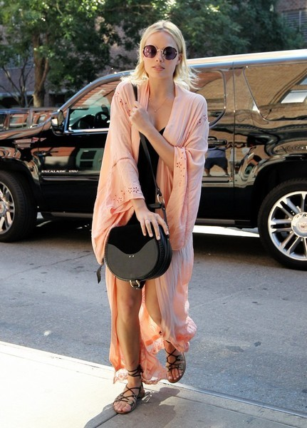 Margot Robbie was a hippie babe in a flowing pink robe by Spell & The Gypsy Collective while out in New York City.