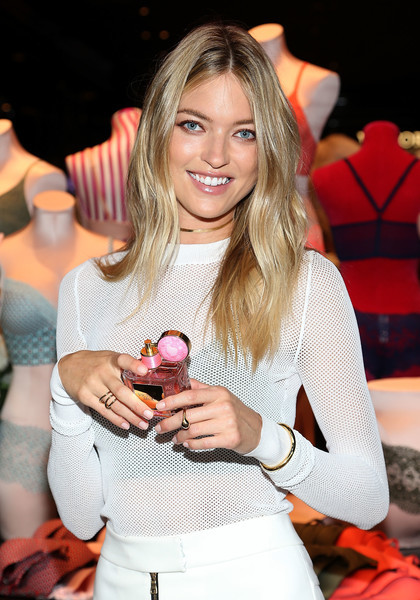 Martha Hunt styled her sweater with a classic gold bangle for the launch of the Easy Collection from Body by Victoria.