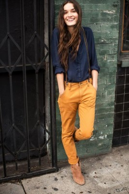 Such a cute look Love the mustard pants Suspenders and navy collared shirt