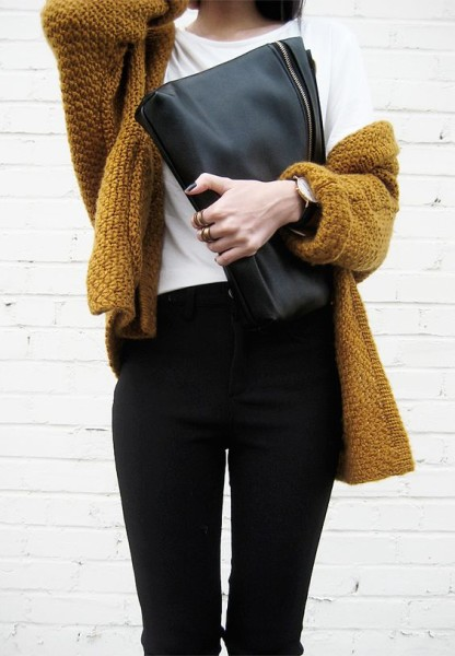 chunky knit sweater . black pants . white tee
