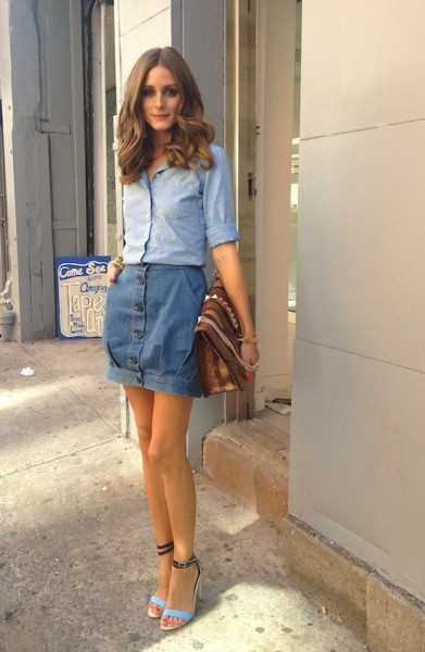 denim on denim + oversized clutch + turquoise black ankle strap heels