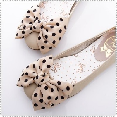BN Satin Polka Dots Bowed Ladies Wedding Ballet Flats Shoes Beige Ivory Black