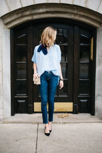 Cropped Jeans, Chambray Shirt, Black Heels, Neck Scarf