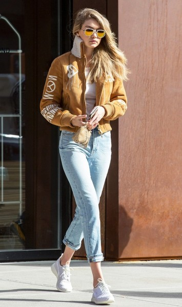 Gigi Hadid in Bomber Jacket