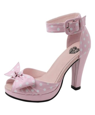 Pink & White Dot Starlet Peep-Toe Sandal
